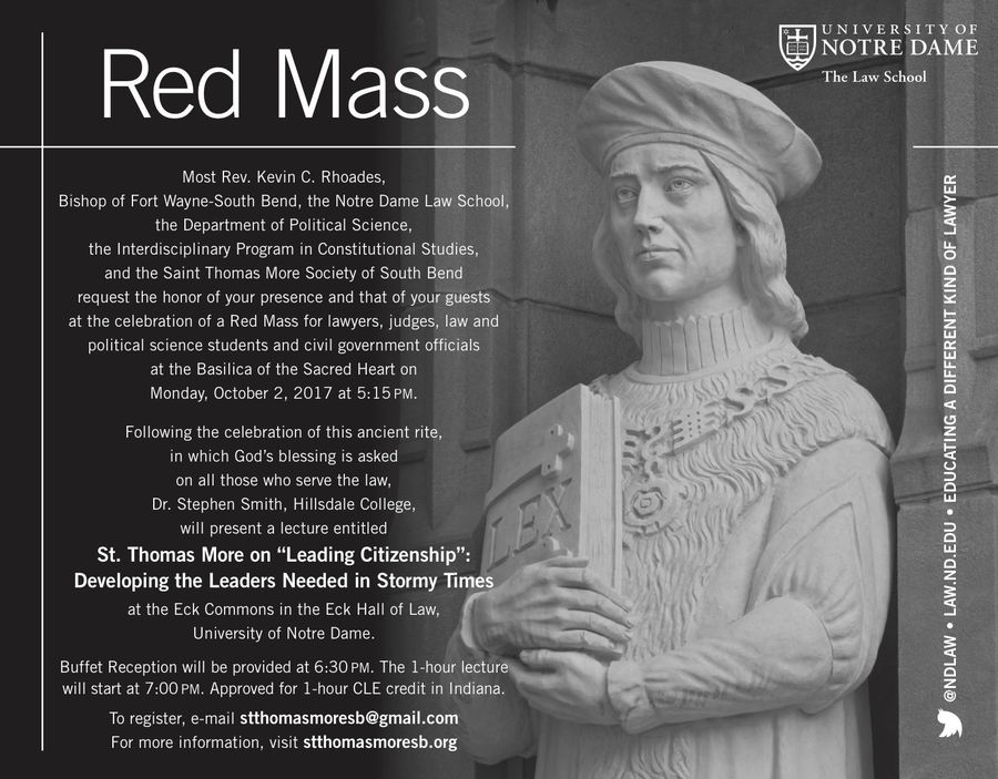 Annual Red Mass is Monday, followed by St  Thomas More