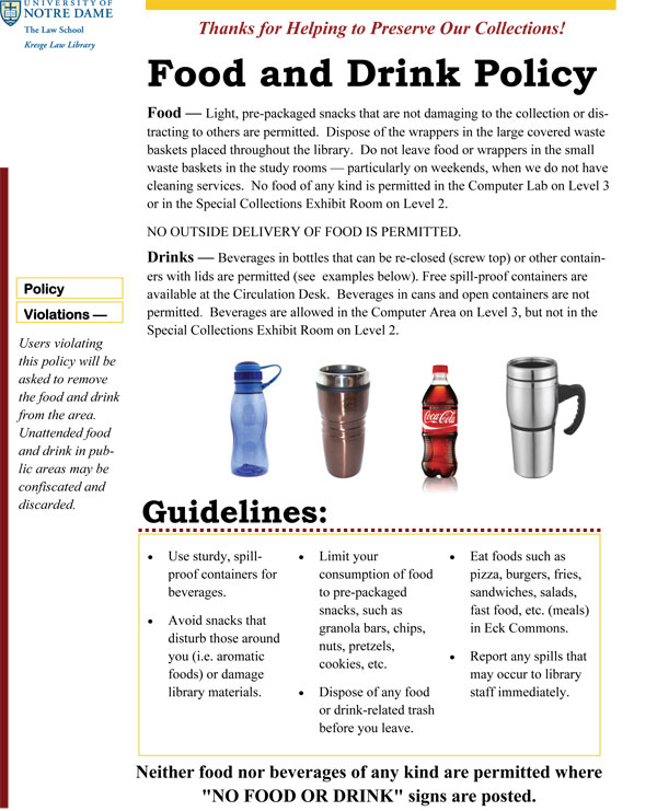 Library Food and Drink Policy